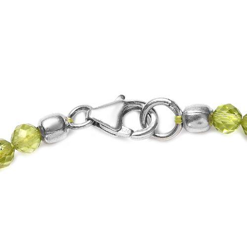 Peridot Beaded Bracelet (Size 7.5) in Sterling Silver 19.40 Ct.