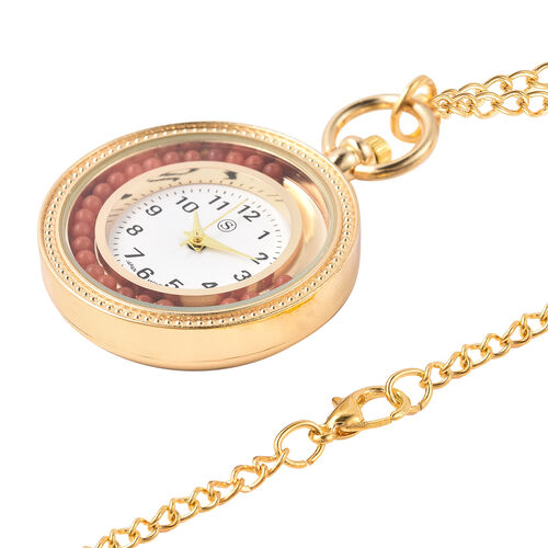 STRADA Japanese Movement Pocket Watch with Chain (Size 30) and Moving Red Agate Beads Around the Dial in Yellow Gold Tone