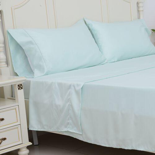 King Size Set of 4- Mint Colour Matt Satin Flat Sheet (Size 275x265 Cm), Fitted Sheet (Size 200x150x30 Cm) and 2 Pillow Cases (75x50 Cm)