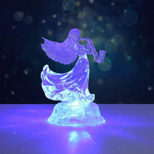 Christmas Decoration- LED in-bulit Crystal Angel Holding a Bird(Batteries not included)