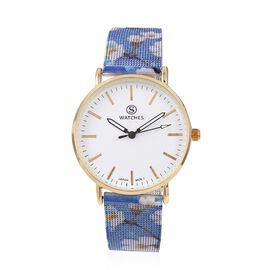 STRADA Japanese Movement Water Resistant Watch with Floral Pattern Mesh Chain Strap