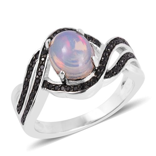 Ethiopian Welo Opal (Ovl 1.15 Ct), Boi Ploi Black Spinel Ring in Rhodium Overlay With Black Plating