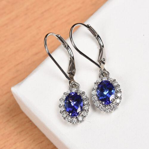 RHAPSODY 950 Platinum AAAA Tanzanite and Diamond (VS/E-F) Lever Back Earrings 1.75 Ct.