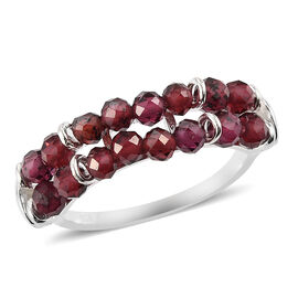 Rhodolite Garnet Two-Row Ring in Sterling Silver 3.25 Ct.