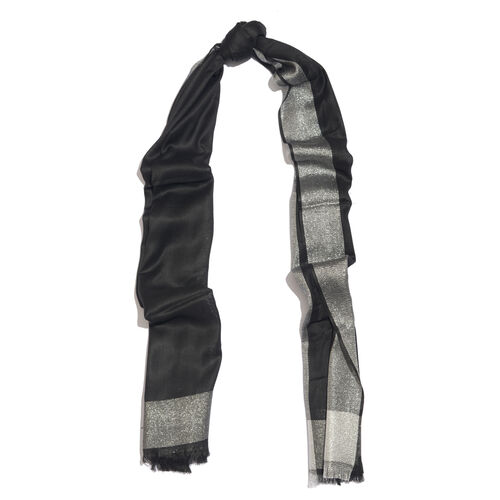 Lurex Bordered Black Colour Scarf with Fringes (Size 180x70 Cm)