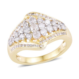 9K Yellow Gold SGL Certified Diamond (Rnd) (I2-I3/ G-H) Cluster Ring 1.001 Ct.
