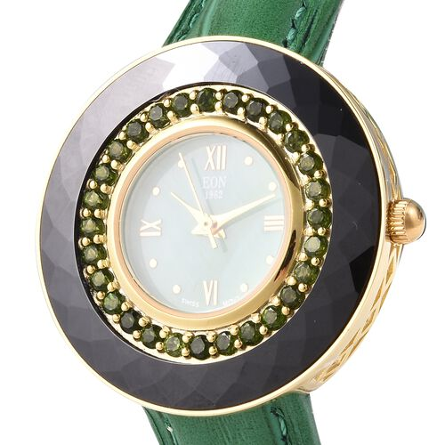EON 1962 Swiss Movement Russian Diopside (Rnd), Black Ceramic Water Resistant Watch in Yellow Gold Plating with Green Leather Strap 11.96 Ct, Silver w t17.00 Gms