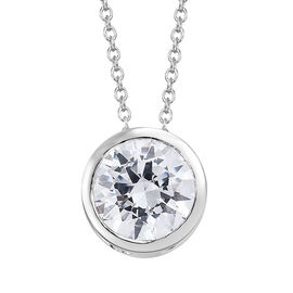 J Francis - Platinum Overlay Sterling Silver (Rnd 8 mm) Solitaire Pendant with Chain (Size 20) Made with SWAROVSKI ZIRCONIA