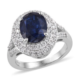 Rare Size Kashmir Blue Kyanite (Ovl 10x8mm, 3.25 Ct), Natural Cambodian Zircon Ring in Platinum Overlay Sterling Silver 4.135 Ct.