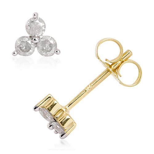 9K Yellow Gold SGL Certified Diamond (Rnd) (I3/G-H) Stud Earrings (with Push Back)