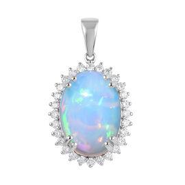 RHAPSODY 950 Platinum Ethiopian Welo Opal (Ovl), Diamond Pendant 10.200 Ct., Platinum wt. 5.80 Gms