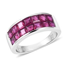RHAPSODY 2.50 Carat Burmese Ruby 2 Row Half Eternity Ring in 950 Platinum 9 Grams