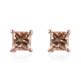 9K Rose Gold SGL Certified Champagne Diamond (I3) Solitaire Stud Earrings (with Push Back) 0.50 Ct.