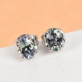 9K White Gold 1 Carat AA Green Tanzanite Oval Solitaire Stud Earrings with Push Back