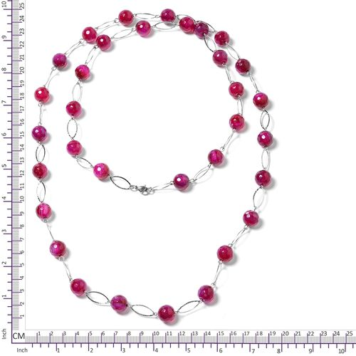 Fuschia Agate Beads Necklace (Size 44) in Silver Bond 330.000 Ct