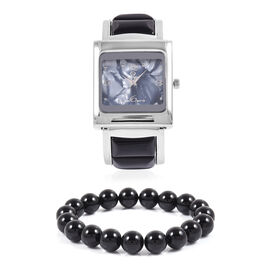 2 Piece Set- STRADA Japanese Movement Bangle Watch with Black Agate Round Bead Stretchable Bracelet