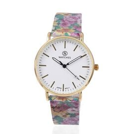 STRADA Japanese Movement Water Resistant Watch with Multi Floral Pattern Mesh Chain Strap