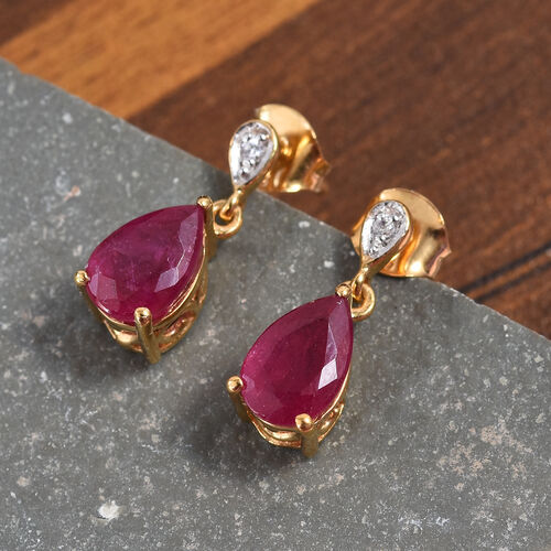 African Ruby (Pear 9x6 mm), Natural Cambodian Zircon Drop Dangle Earrings (with Push Back) in 14K Gold Overlay Sterling Silver 3.81 Ct.