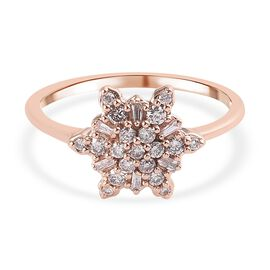 9K Rose Gold Pink Diamond Snowflake Cluster Ring 0.33 Ct.