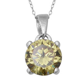ELANZA Colour Change Cubic Zirconia Solitaire Pendant With Chain in Rhodium Plated Silver