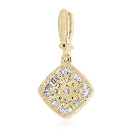 9K Yellow Gold SGL Certified Diamond (Rnd) (I3 G-H) Cluster Pendant 0.500 Ct.