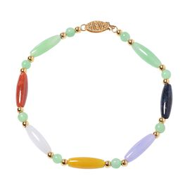 28.75 Ct Multi Colour Jade Beaded Bracelet in Gold Plated Sterling Silver Size 7.5 Inch