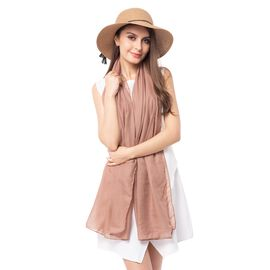 Light Brown Solid Colour Scarf (Size 180x70 Cm) with Rose Flower Pattern Hat and tassels with bowkno