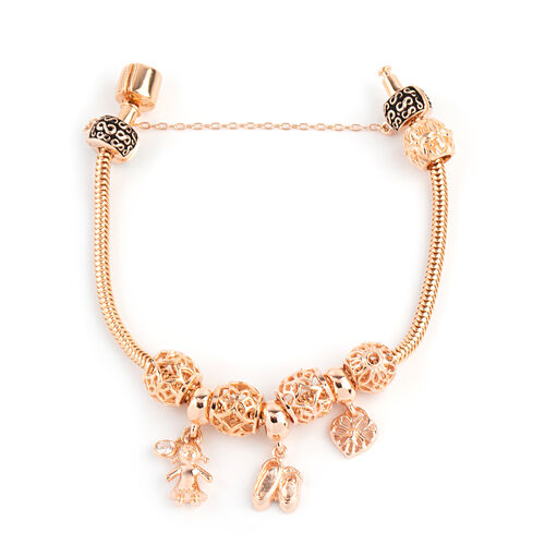 Designer Inpsired - Rose Gold Overlay Sterling Silver Bracelet (Size 7.5) with Charm, Silver wt 25 G