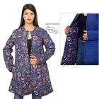 Handmade Printed Reversible Quilted Jacket in Navy Blue - Size S (size 8-10 )