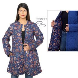 100% Rayon, Long Quilted Jacket. Color: Navy Blue Wine Red Length: 86.36 cms. Width: 100.33 cms.