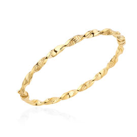 Greek Key Twisted Bangle in 9K Yellow Gold 7 Inch