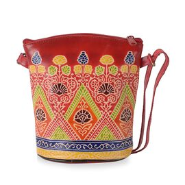 100% Genuine Leather Handmade Printed Shoulder Bag with Zip Closure (Size 19x18 Cm) - Red and Multic