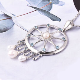 LUCYQ Freshwater White Pearl Dream Catcher Pendant with Chain in Rhodium Plated Sterling Silver