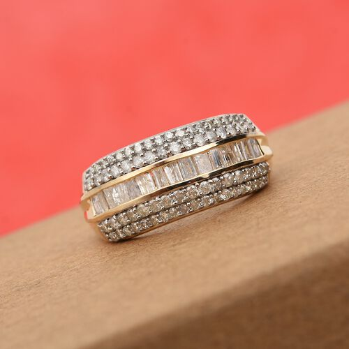 9K Yellow Gold SGL Certified Natural Diamond (I3/G-H) Ring 1.00 Ct.