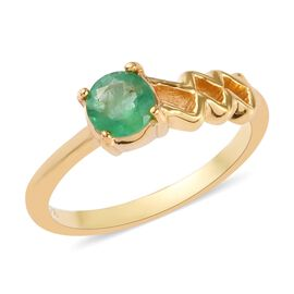 AA Kagem Zambian Emerald Ring in 14K Gold Overlay Sterling Silver 0.50 Ct.