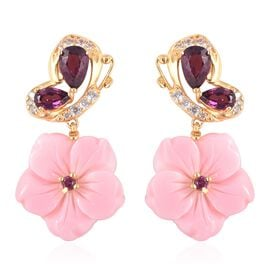 Jardin Collection - Pink Mother of Pearl, Rhodolite Garnet and Natural White Cambodian Zircon Earrin