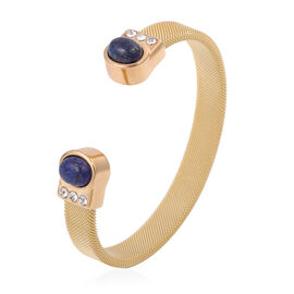 Lapis Lazuli and White Austrain Crystal Cuff Bangle (Size 7.5) in Gold Tone Stainless Steel