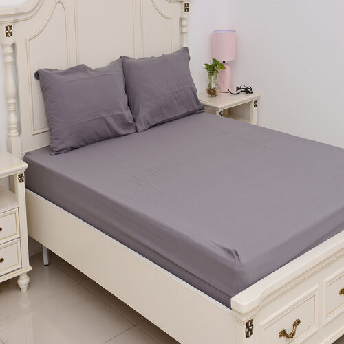 King Size Sheet Set of 4 - Extremely Soft Stone Washed Grey Colour Fitted Sheet (200x150x30 Cm), Fla