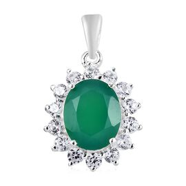 Verde Onyx (Ovl 2.35 Ct), Natural Cambodian Zircon Pendant in Sterling Silver 3.500 Ct.