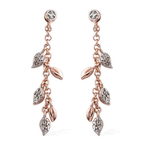 J Francis - Rose Gold and Platinum Overlay Sterling Silver (Rnd) Leaf Dangle Earrings (with Push Back) Made With SWAROVSKI ZIRCONIA.