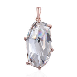 J Francis -Crystal from Swarovski - White Colour Crystal Pendant in Rose Gold Overlay Sterling Silve