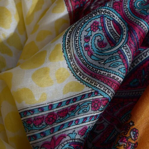 100% Mulberry Silk Brown, Pink and Multi Colour Paisley Pattern Pareo (Size 180x100 Cm)