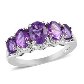 Amethyst 5-Stone Ring in Platinum Overlay Sterling Silver 1.45 Ct.
