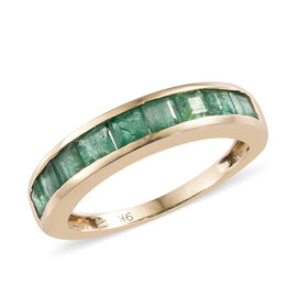 Limited Edition 9K Yellow Gold Princess Cut AA Kagem Zambian Emerald Band Ring 1.250 Ct.