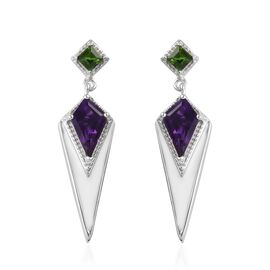GP Amethyst, Russian Diopside and Blue Sapphire Enamelled Earrings (with Push Back) in Platinum Over