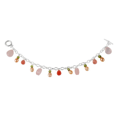 Designer Inspired Rose Quartz, Pearl and Multigemstone T-Bar Bracelet (Size 7.5), Silver wt 6.51 Gms.