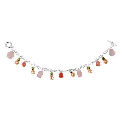 Designer Inspired Rose Quartz, Pearl and Multigemstone T-Bar Bracelet (Size 7.5), Silver wt 6.51 Gms.
