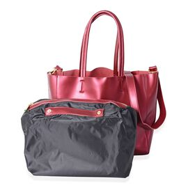 2 Piece Set-100% Genuine Leather Red Colour Tote Bag (Size 46x32x29x13 Cm) and Pouch (Size 32x23x13 Cm)