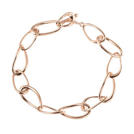 LucyQ Fluid Collection - Rose Gold Overlay Sterling Silver Bracelet (Size 8) with T Bar Lock
