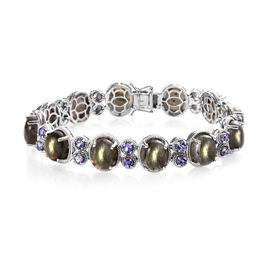 53.05 Ct Fire Labradorite and Tanzanite Line Bracelet in Platinum Plated Silver 26.30 Grams 8 Inch
